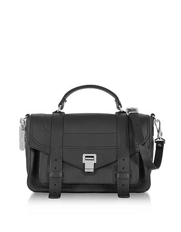Proenza Schouler - PS1+ Medium Black Grainy Leather Flap Handbag