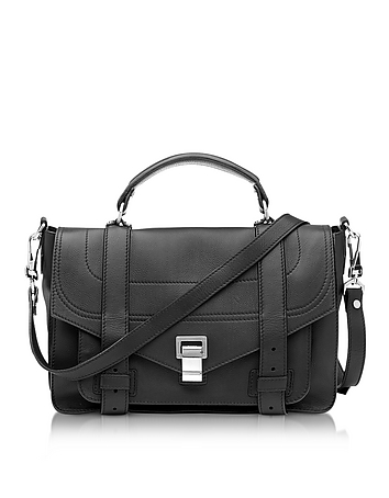 Proenza Schouler - PS1+ Medium Black Grainy Leather Flap Handbag