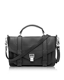 PS1+ Medium Black Leather Flap Handbag - Proenza Schouler
