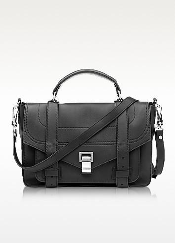 PS1+ Medium Black Leather Flap Handbag - Proenza Schouler