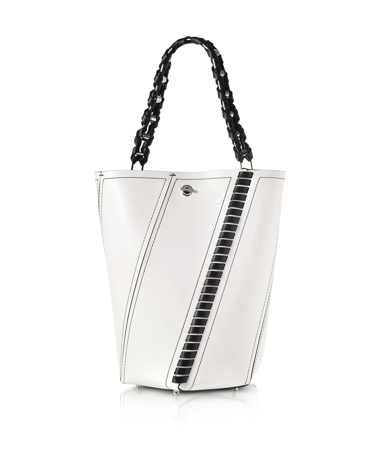 BLACK AND WHITE LEATHER MEDIUM HEX BUCKET BAG W/WHIPSTITCH