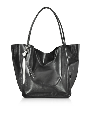 Black Leather Super Gloss Extra Large Tote nz130118-007-00