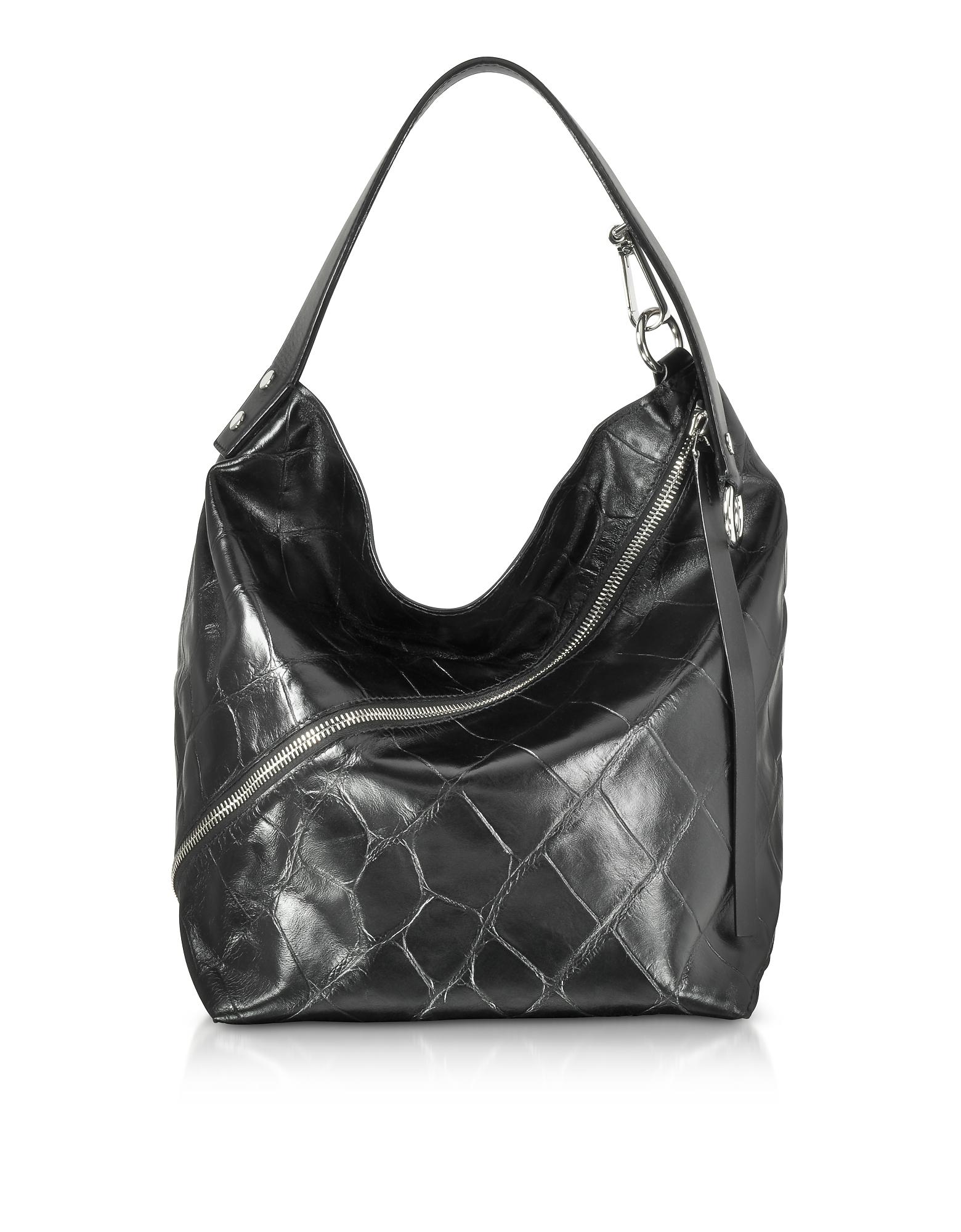 Medium Hobo Bag in Pelle nera Stampa Cocco