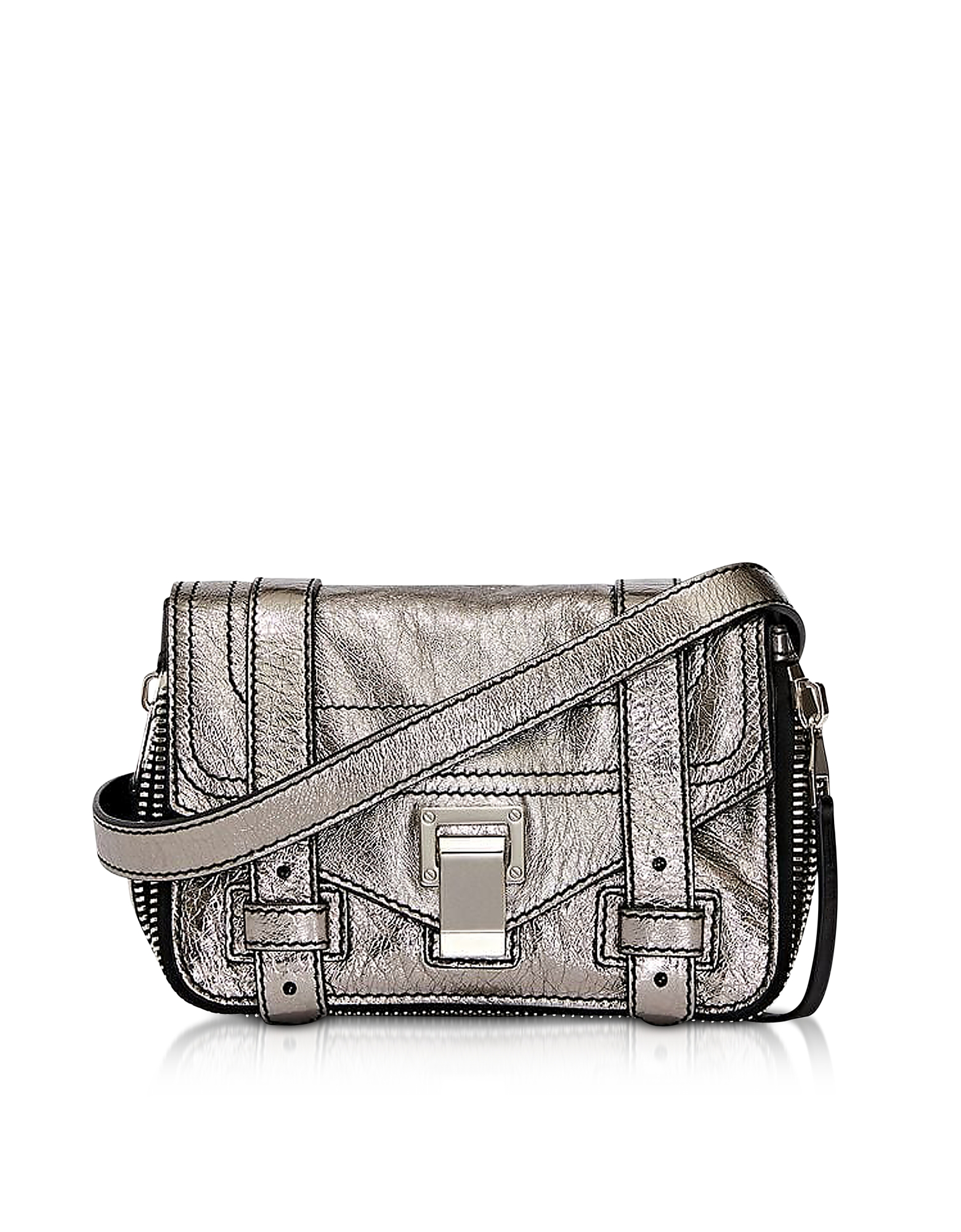 Ps1+ Zip-Metallic Leather Mini Crossbody