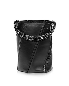 Black Leather Medium Hex Bucket Bag w/Whipstitch - Proenza Schouler