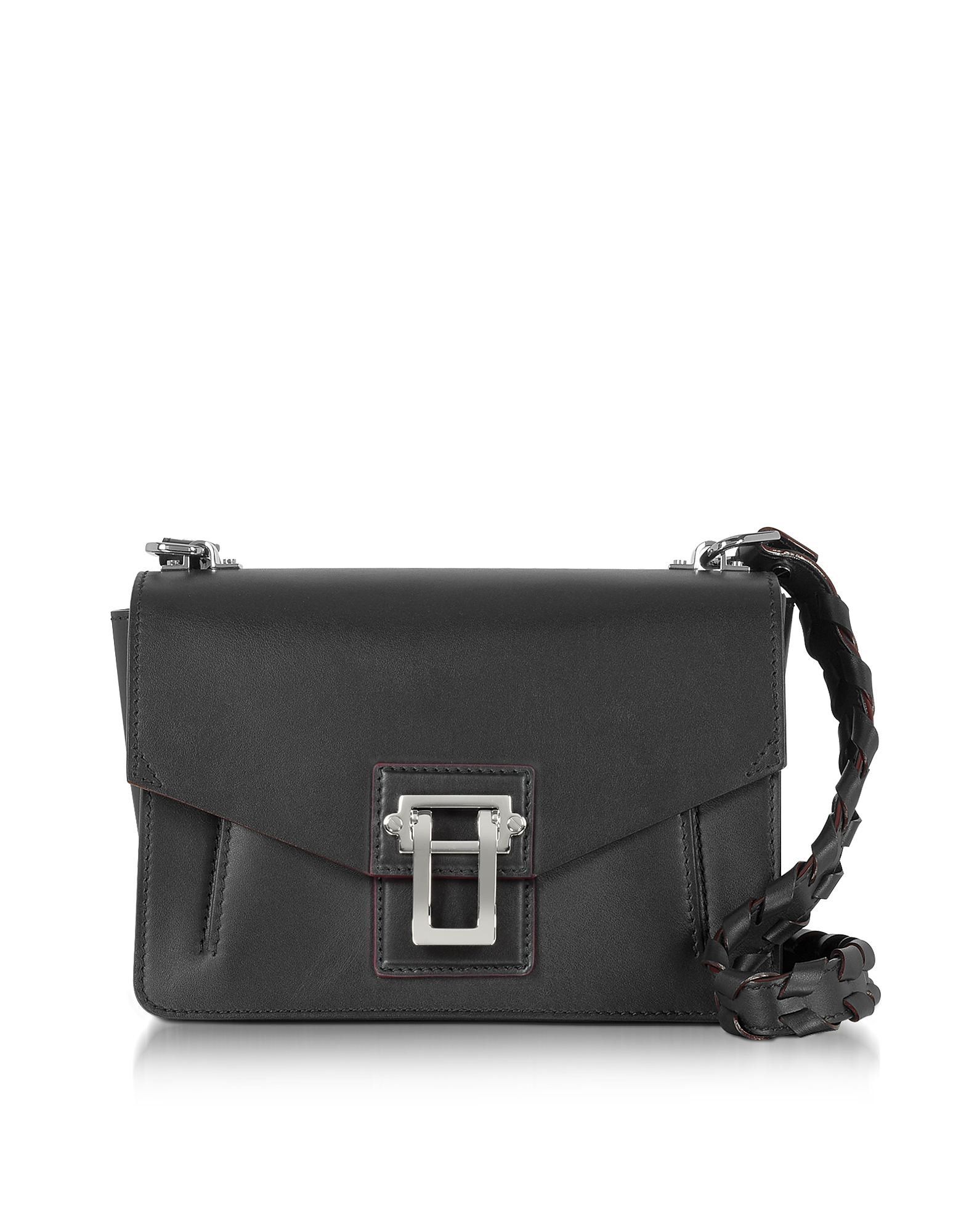 Proenza Schouler Handbags, Hava Black Smooth Leather Shoulder Bag w/Whipstitch Strap