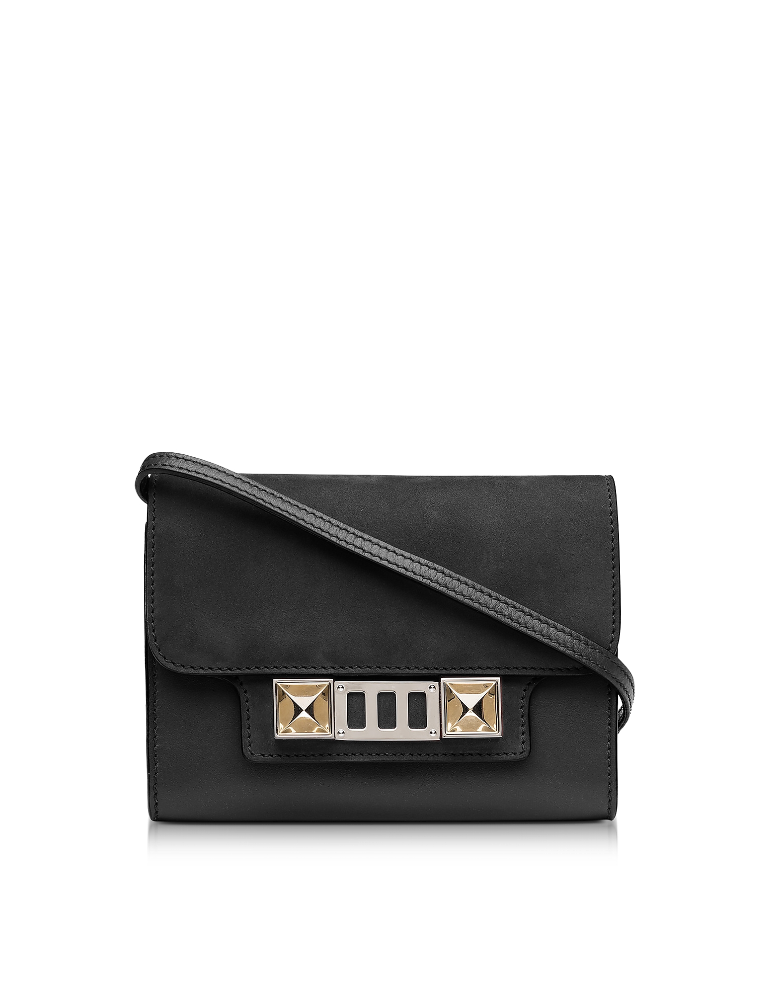 PS11 Black Leather and Nubuck Wallet w/Shoulder Strap