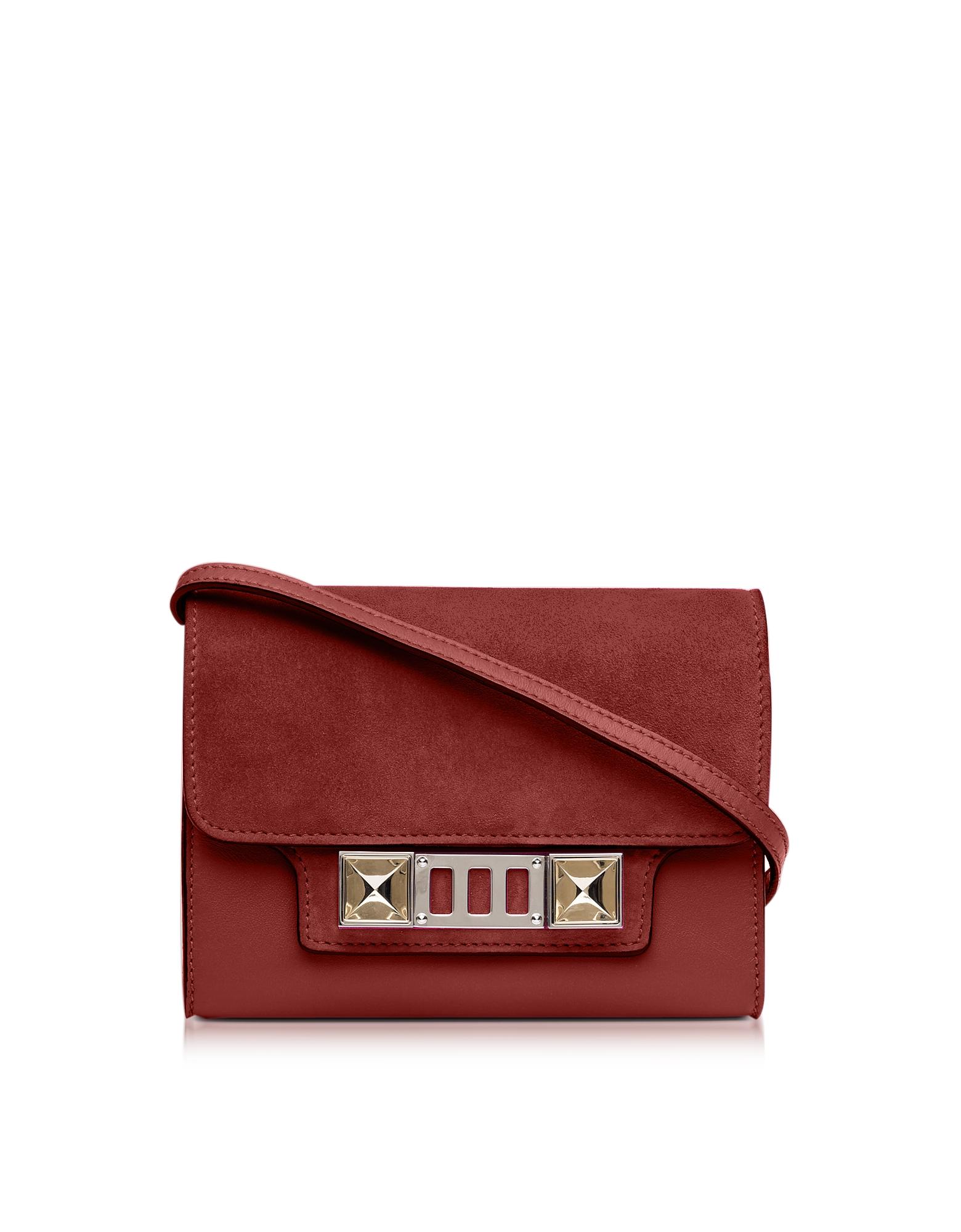 Фото PS11 - Темно-красный Бумажник из Кожи и Набука и Кожи с Ремешком на Плечо. Купить с доставкой