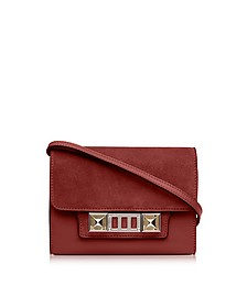 PS11 Red Plum Leather and Nubuck Wallet w/Shoulder Strap - Proenza Schouler