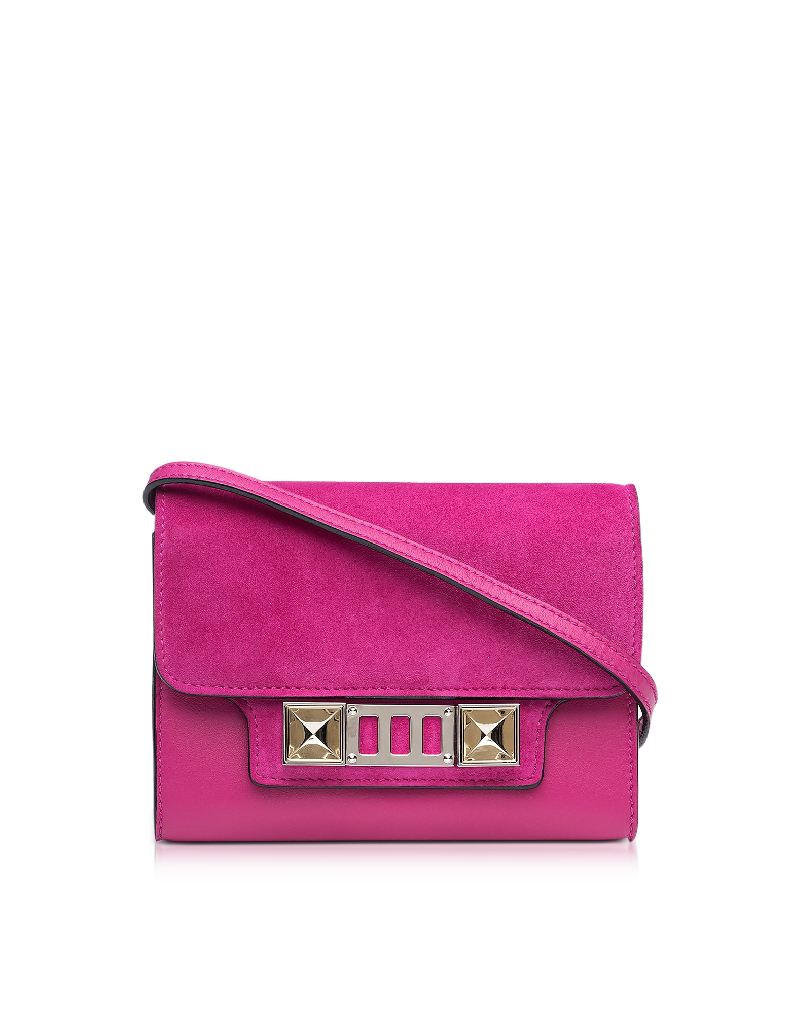 Proenza Schouler Handbags, PS11 Peony Leather and Suede Wallet w/Shoulder Strap