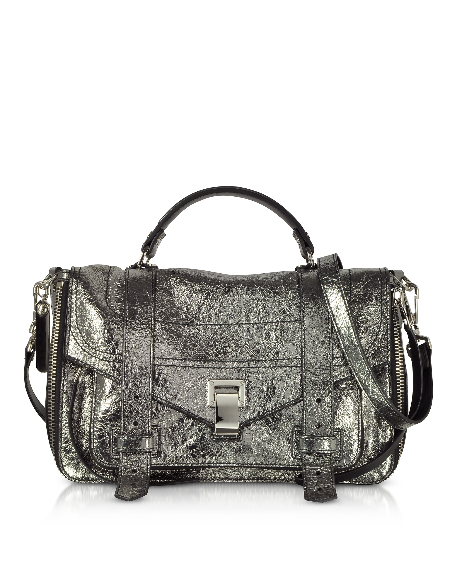 Proenza Schouler Handbags, PS1+ Metallic Leather Medium Zip Satchel Bag