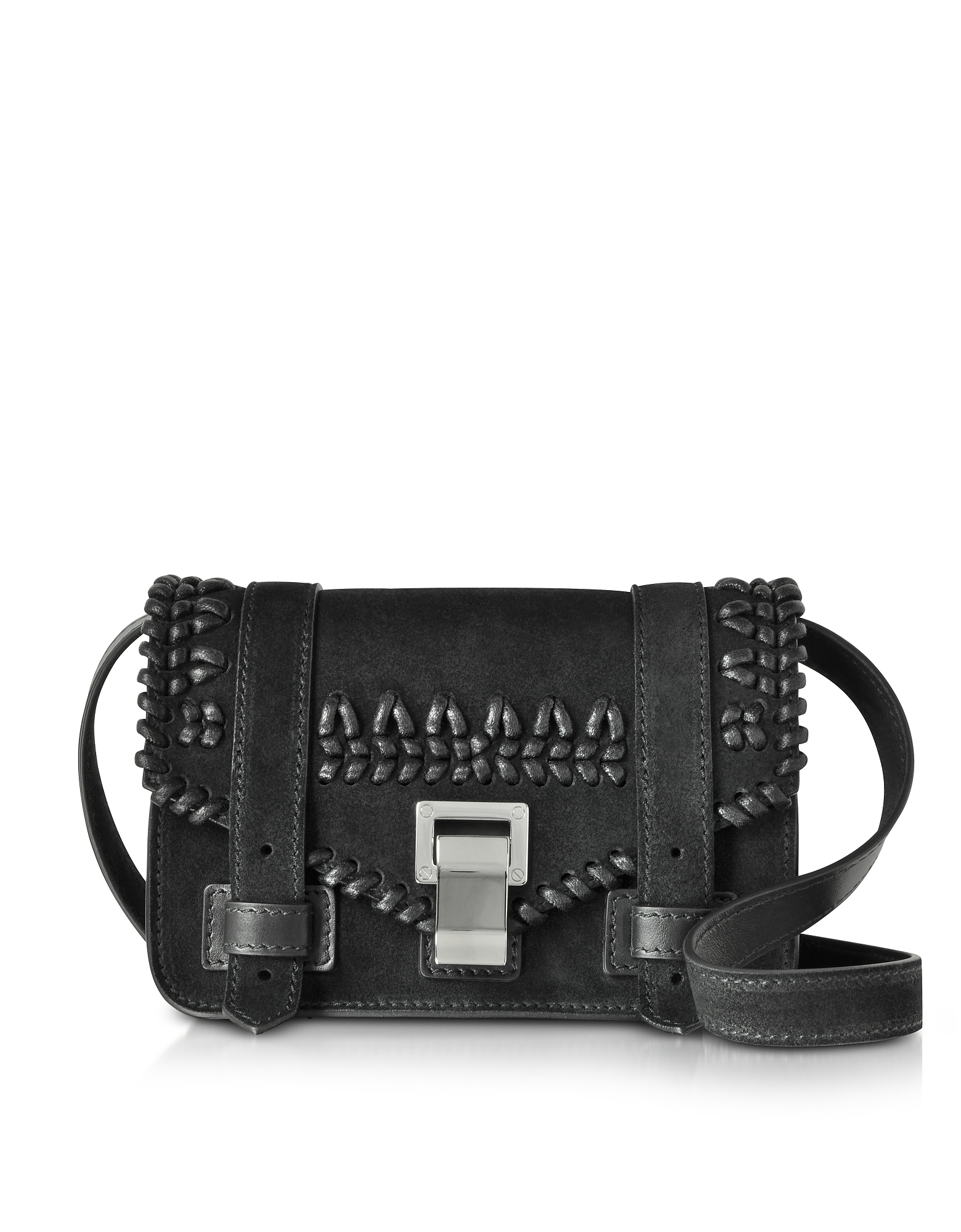 PS1+ Black Suede Mini Crossbody Bag w/Crochet