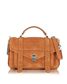 PS1 Medium Mahogany Suede Satchel Bag - Proenza Schouler
