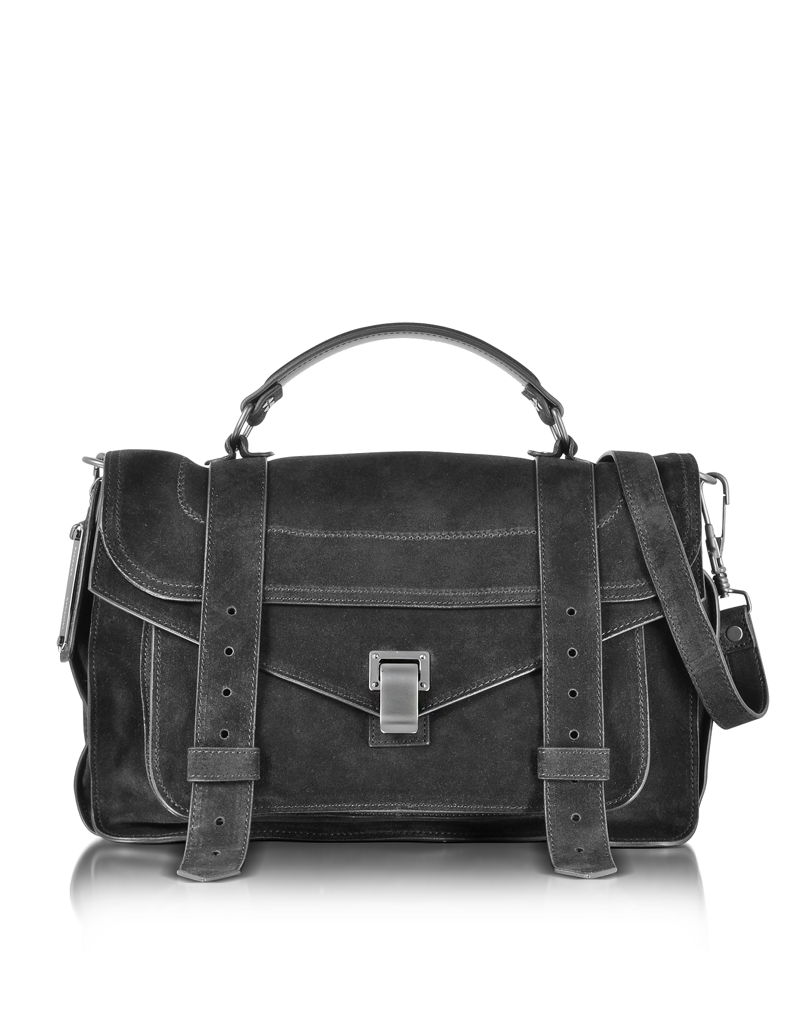 Proenza Schouler Handbags, PS1 Medium Black Suede Satchel Bag