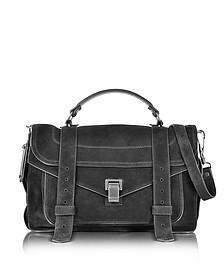 PS1 Medium Black Suede Satchel Bag - Proenza Schouler
