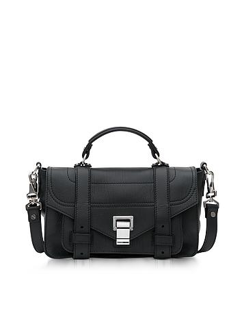 Proenza Schouler - PS1+ Tiny Black Leather Flap Handbag