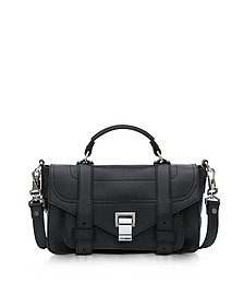 PS1 + Tiny Black Leather Flap Handbag - Proenza Schouler