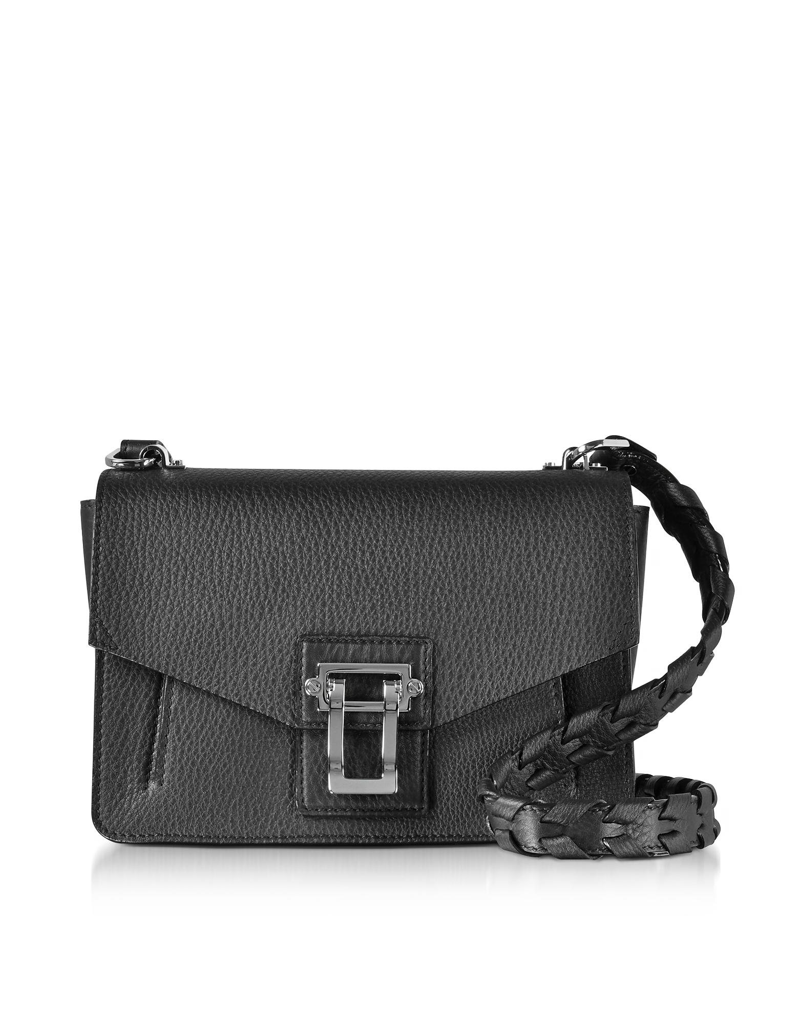 Proenza Schouler Handbags, Hava Black Lindos Leather Shoulder Bag w/Whipstitch Strap