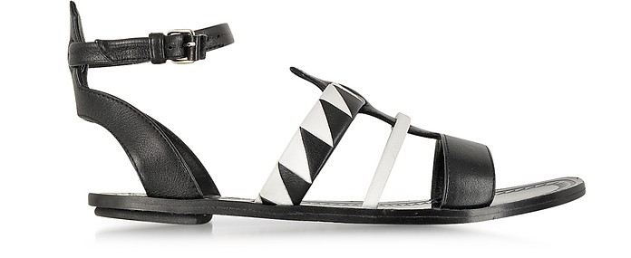 Two-Tone Leather Flat Sandal - Proenza Schouler
