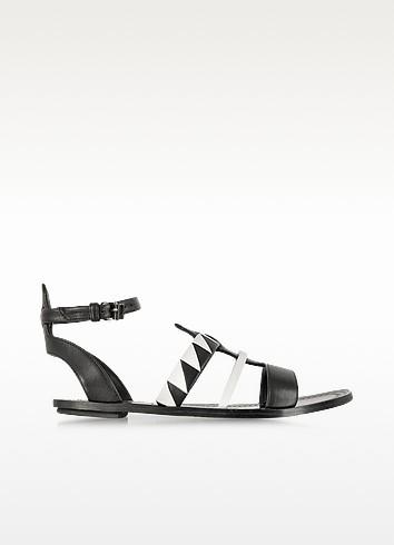 Two-Tone Leather Flat Sandal - Proenza Schouler
