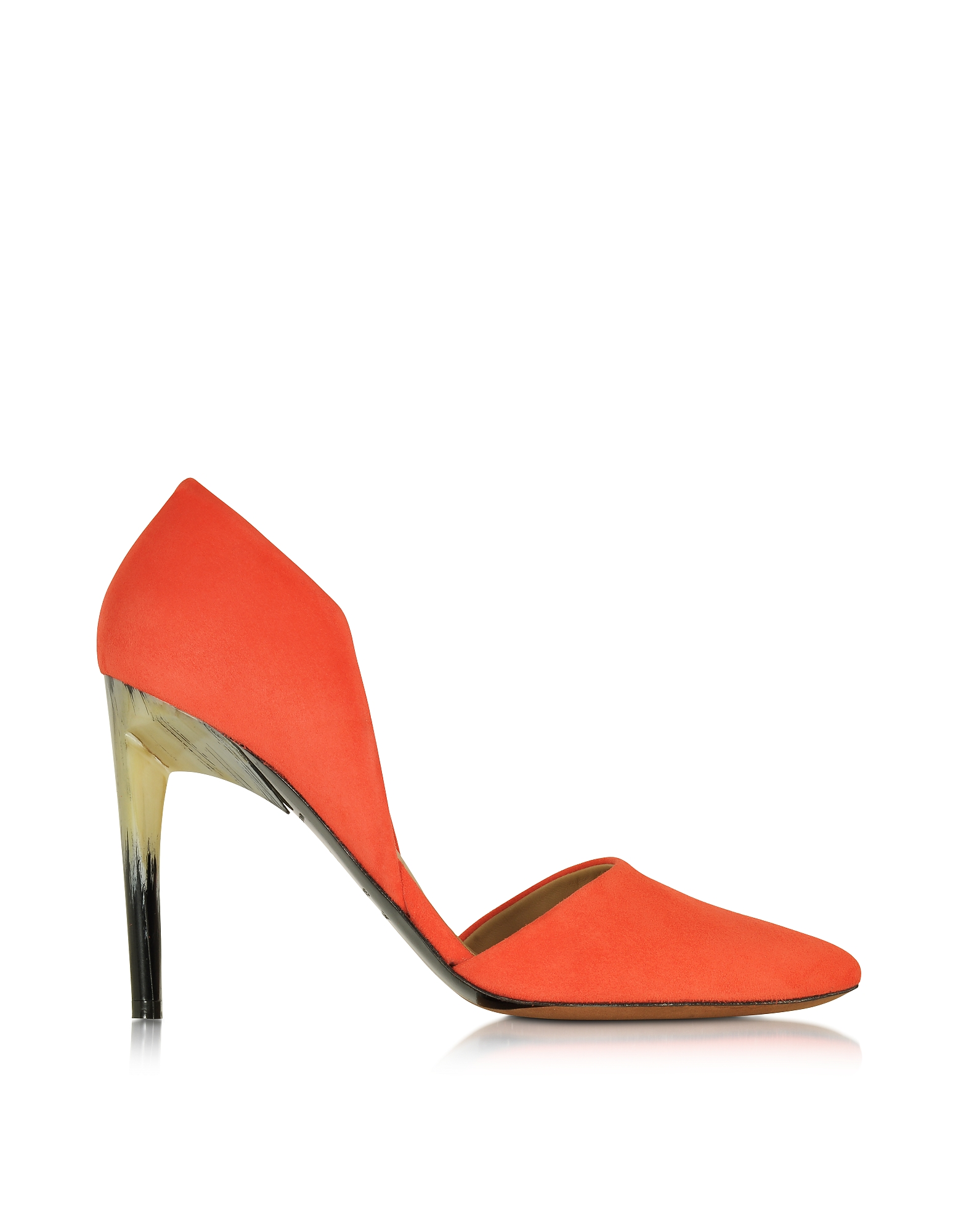 Оранжевые Замшевые Туфли-Лодочки