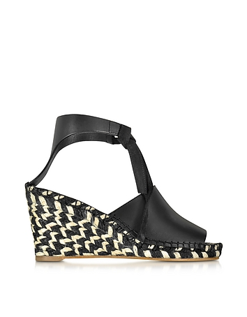 Black Leather Wedge Peeptoe Espadrille