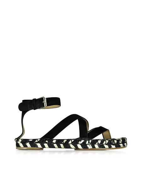 Foto Proenza Schouler Sandalo in Pelle Nera e Juta Intrecciata Bicolore Scarpe