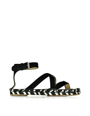 Proenza Schouler - Black Leather Espadrille Sandal