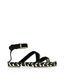 Black Leather Espadrille Sandal - Proenza Schouler