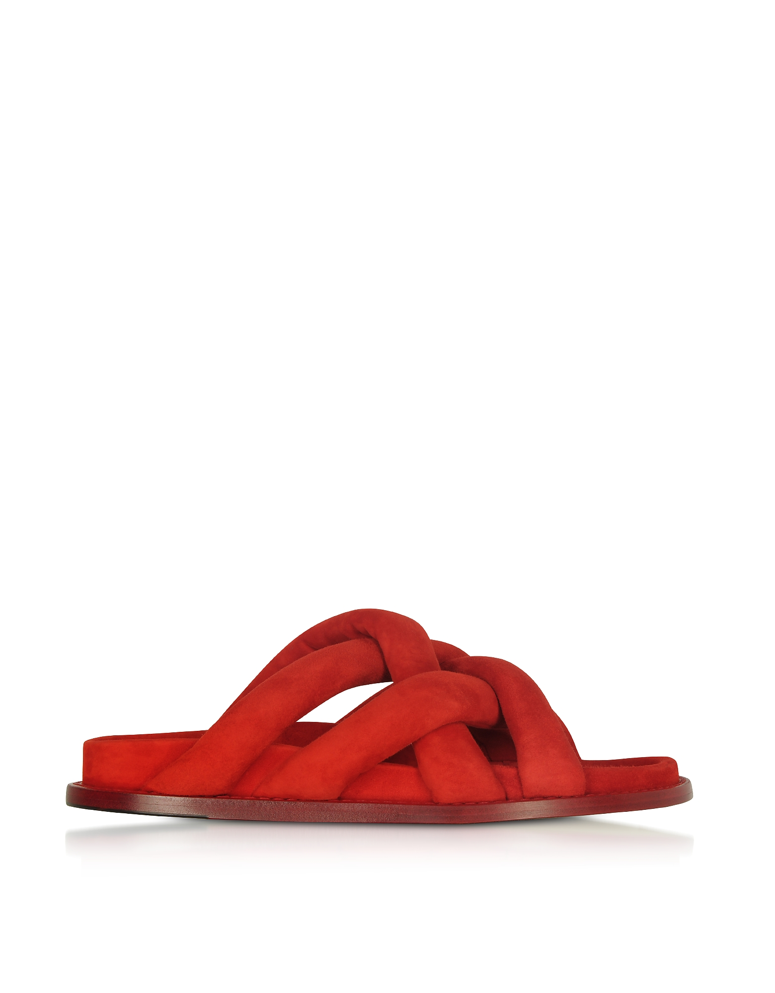 Proenza Schouler Shoes, Tulip Red Suede Flat Sandals