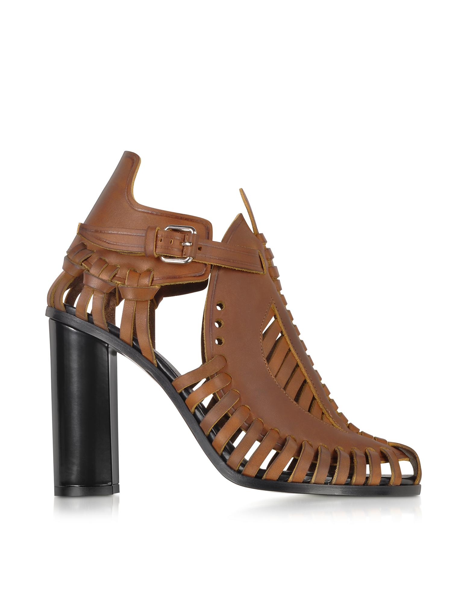 Brown Woven Leather Sandal - Proenza Schouler