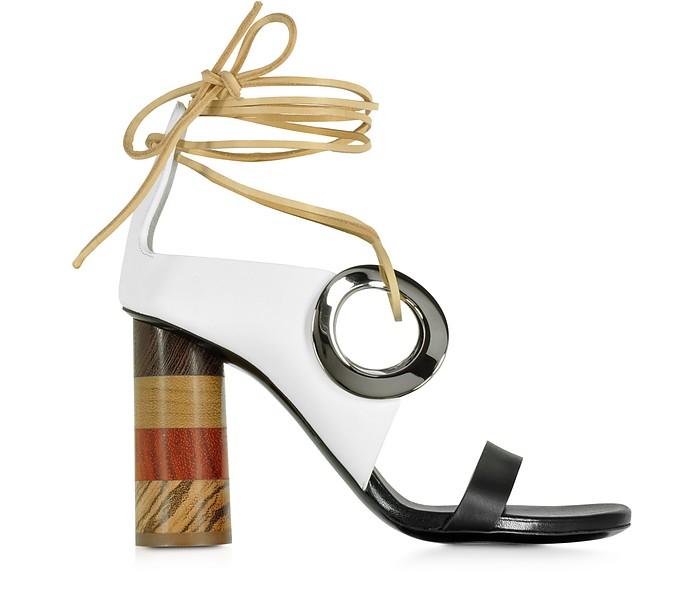 Sandale in schwarz-weiß mit Lederbändern - Proenza Schouler