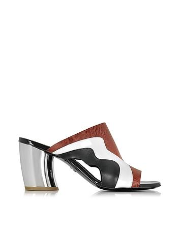 Color Block Leather Sandal w/Mirror Heel