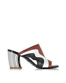 Color Block Leather Slide w/Mirror Heel - Proenza Schouler