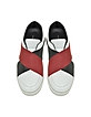 White Leather Slip on Sneaker w/Two Tone Elastic Band - Proenza Schouler