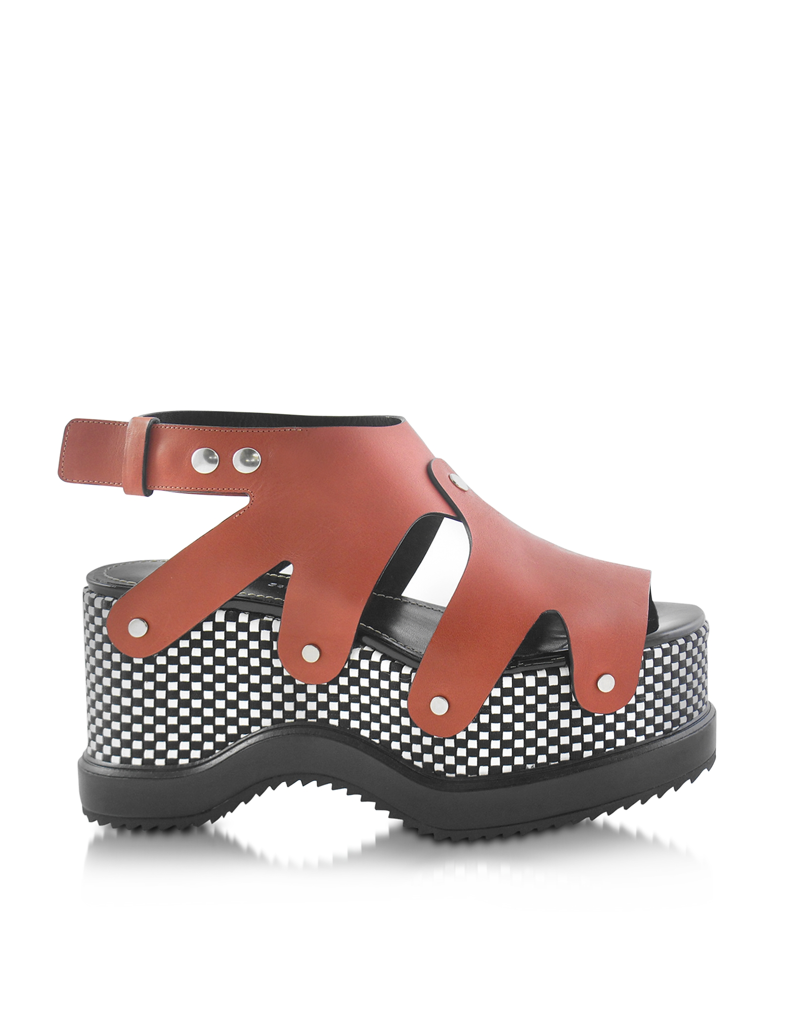 Image of Proenza Schouler Designer Shoes, Nappa Leather Sandal w/Optical Print Wedge