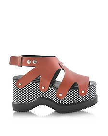 Nappa Leather Sandal w/Optical Print Wedge - Proenza Schouler