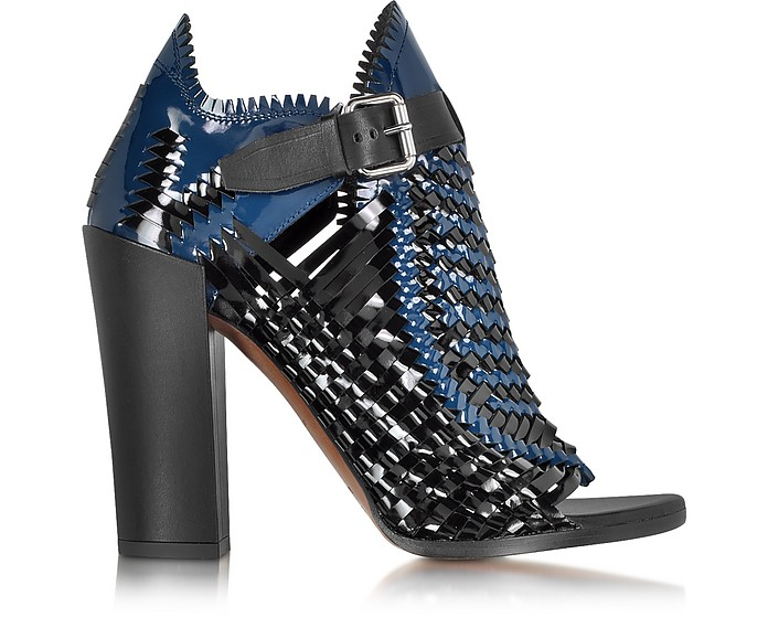Black and Blue Woven Patent Leather Bootie - Proenza Schouler