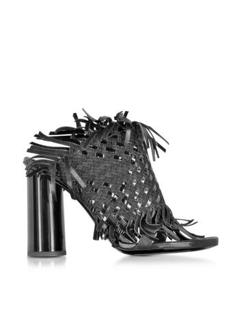 Lux-ID 284028 Black Woven Leather Sandal