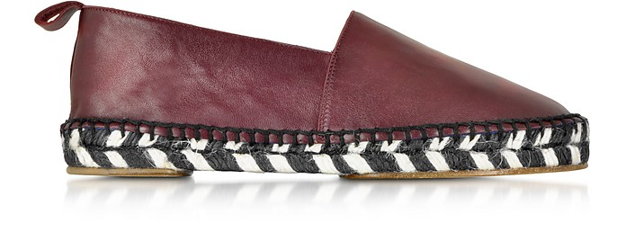 Bordeaux Leather and Jute Espadrille - Proenza Schouler
