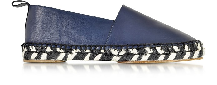 Blue Leather and Jute Espadrille  - Proenza Schouler
