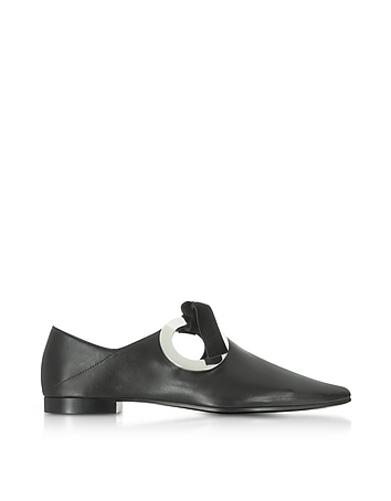 Proenza Schouler - Black Leather and Suede Flat Mule