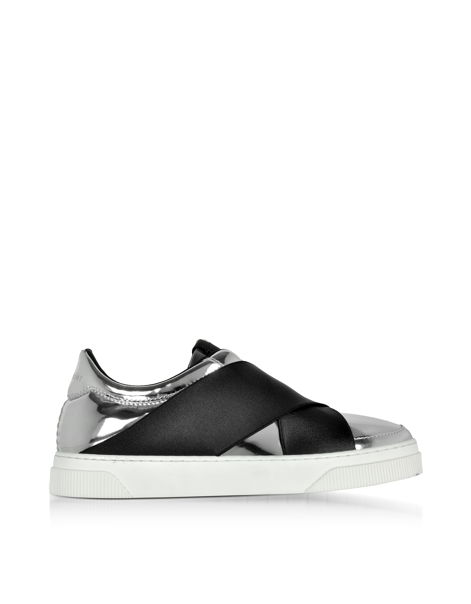 Proenza Schouler Shoes, Black and Silver Mirror Leather Slip On Sneakers