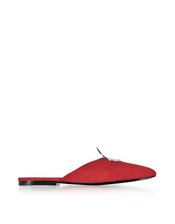 Proenza Schouler - Flame Red Suede Flat Mule w/Metal Eyelet