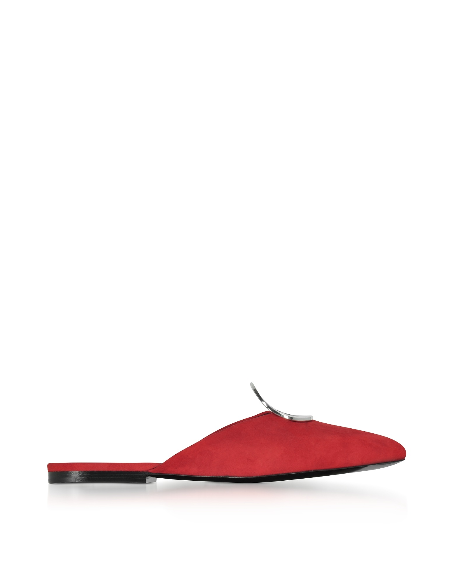 Proenza Schouler Shoes, Flame Red Suede Flat Mule w/Metal Eyelet