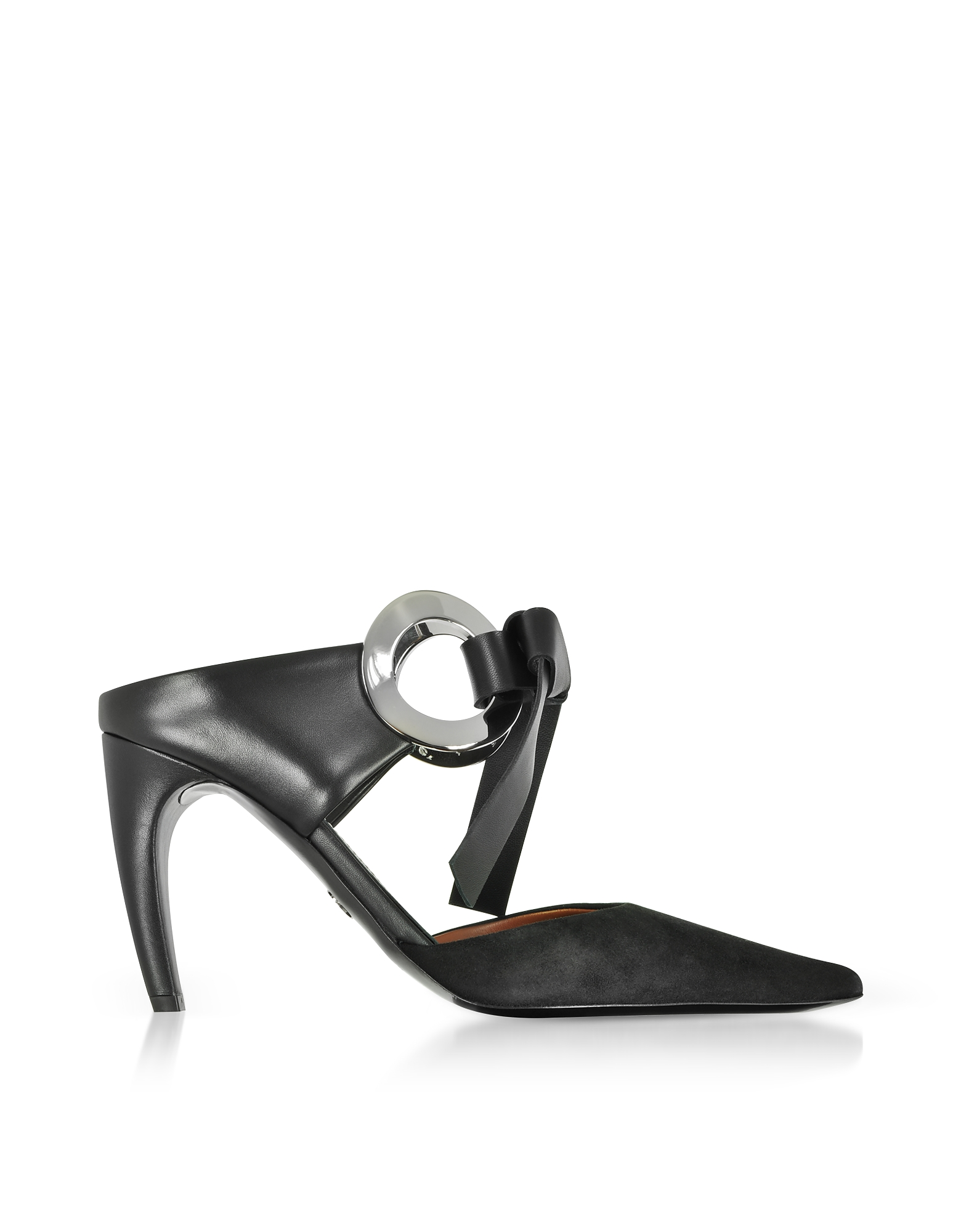 Black Suede High Heel Grommet Mules