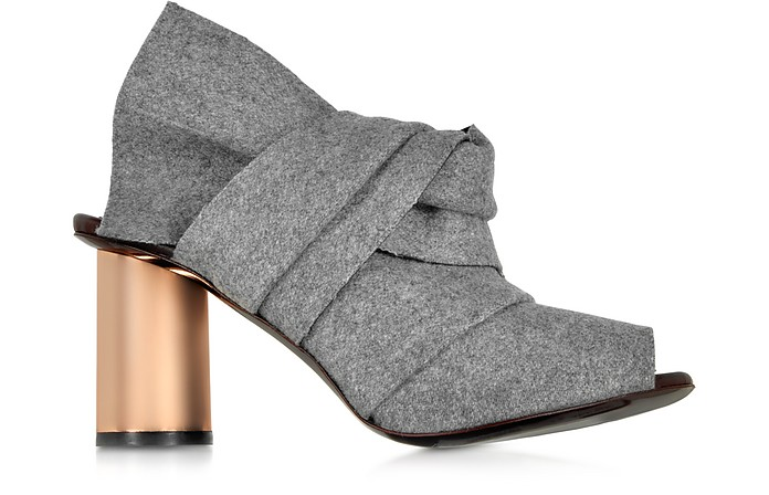 Grey Felt Sandal w/Rose Gold Metal Heel - Proenza Schouler