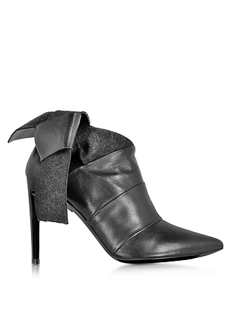 Black Leather and Felt Bootie