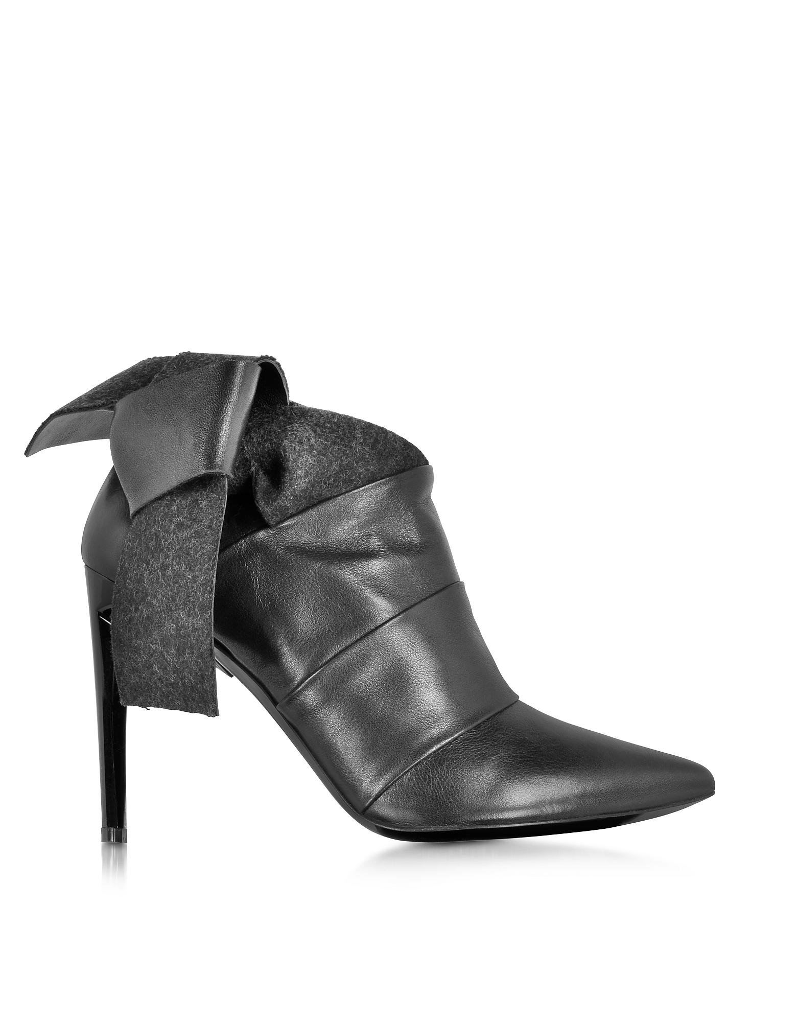 Фото Черные Ботинки из Кожи и Фетра. Купить с доставкой