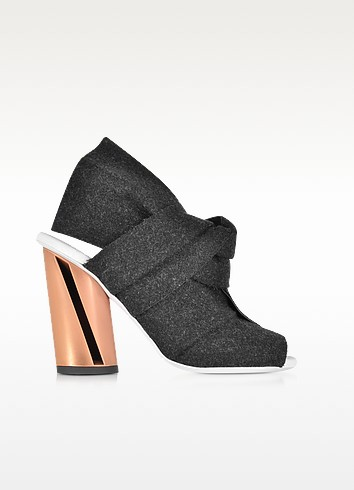 Dark Grey Felt Sandal w/Rose Gold Metal Heel - Proenza Schouler